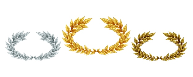 Golden silver and bronze laurel wreaths in realistic style as symbol sports achievement isolated illustration Free Vector