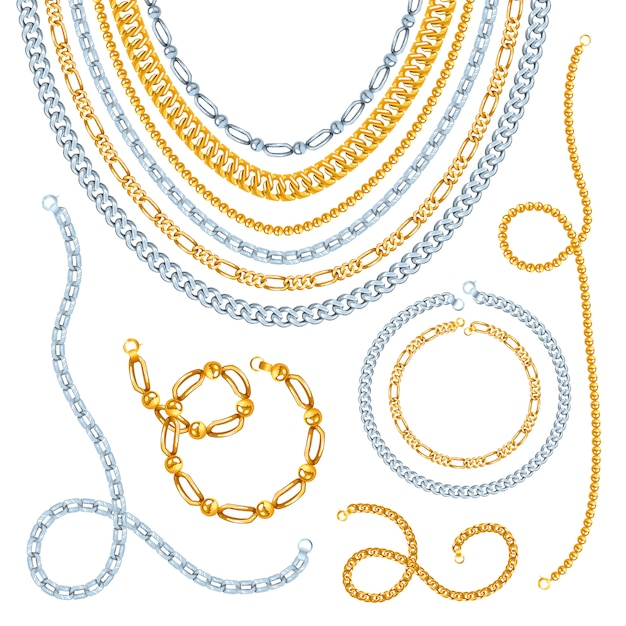 Golden and silver chains necklaces Free Vector