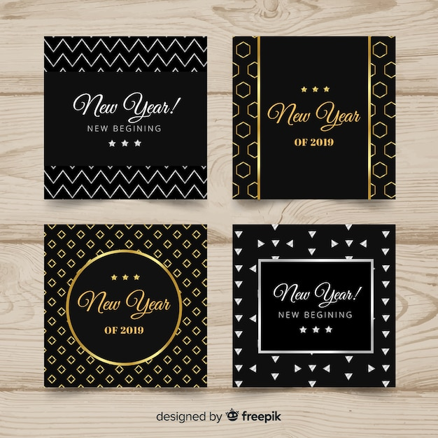 Golden and silver new year 2019 card collection Free Vector