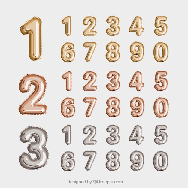 Golden and silver number collection Free Vector