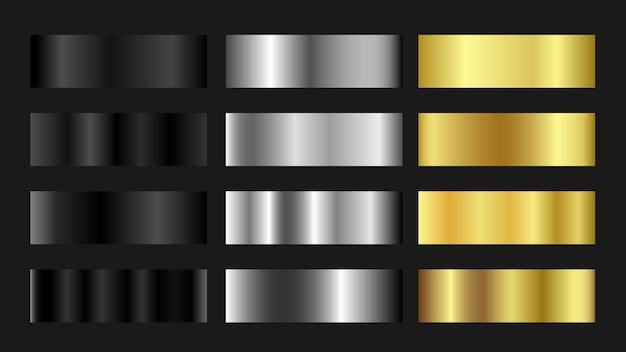 Цветовая палитра градиента golden silver titanium Premium векторы