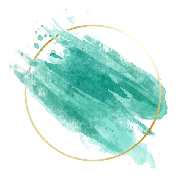Golden simple frame with blue watercolor stain Free Vector