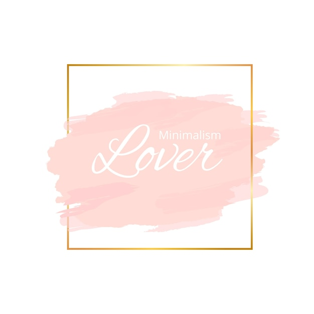 Golden simple frame with watercolor stain Free Vector