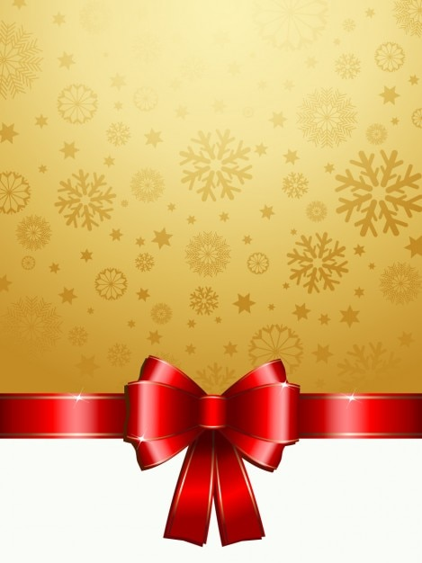 Golden Snowflake Background With A Red Bow Vector Free