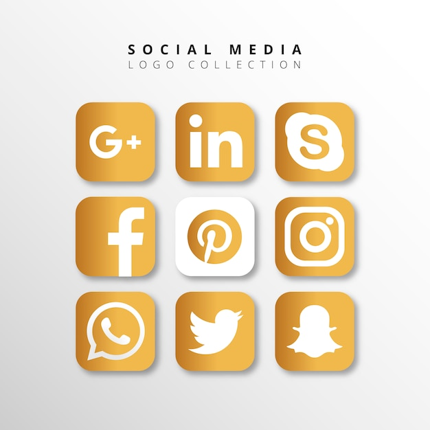 Golden social media logo collection Free Vector