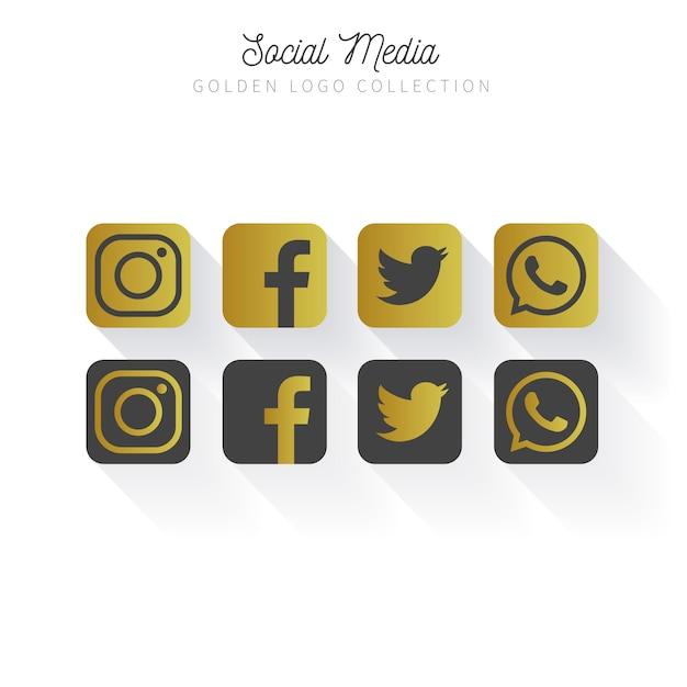 Golden Social Media logo collection Free Vector