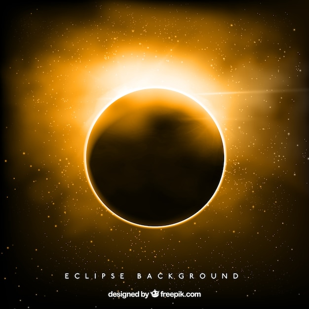 Golden solar eclipse background Free Vector