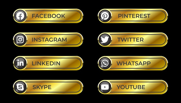 Golden solid shiny 3d social media gradient button set with round icon of facebook instagram linkedin pinterest skype twitter whatsapp youtube for ux ui and online use Premium Vector