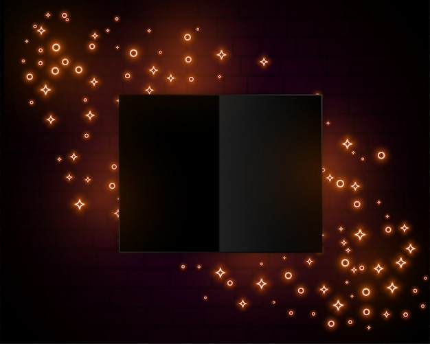 Golden sparkle lights neon style background design Free Vector