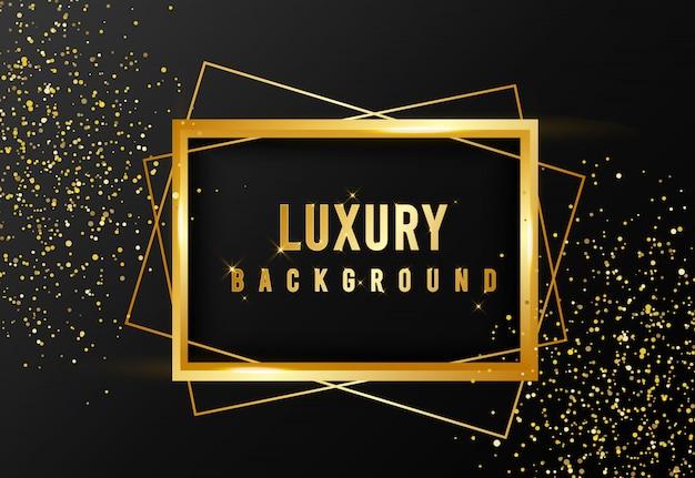 Golden sparkle and luxury frame background Premium Vector