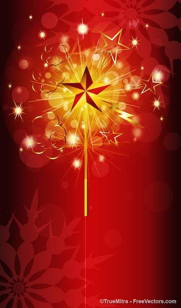Golden sparkles with red bubbles Free Vector