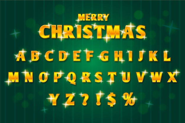 Golden sparkling christmas alphabet illustration Free Vector