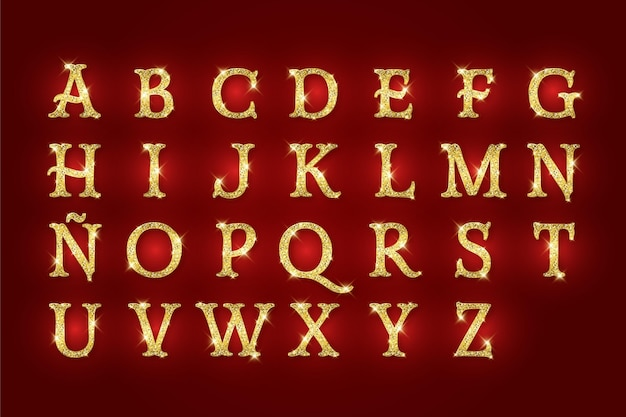 황금 반짝이 크리스마스 알파벳 무료 벡터