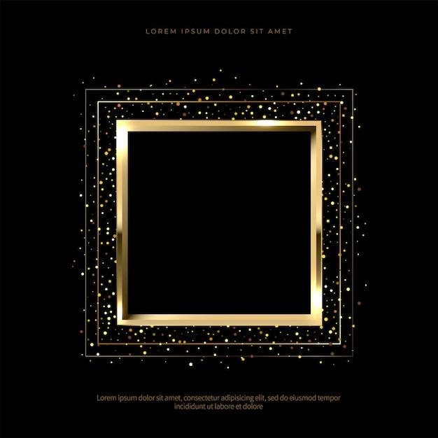 Golden sparkling frame on black background Premium Vector