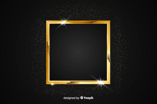 Golden sparkling frame on black background Free Vector