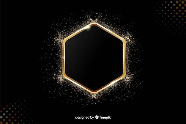 Golden sparkling frame on black background Free Vector
