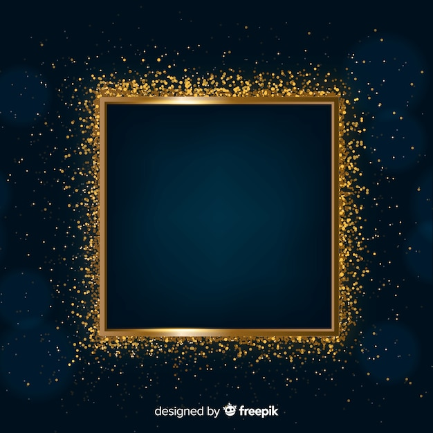 Golden sparkling frame on dark background Free Vector