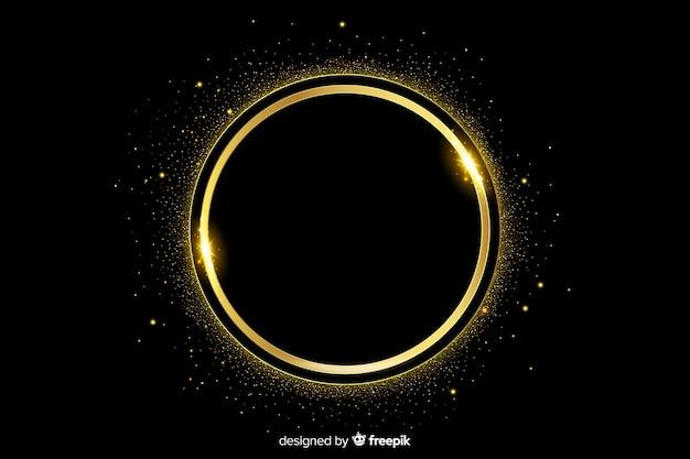 Golden sparkling frame on dark background Free Vector