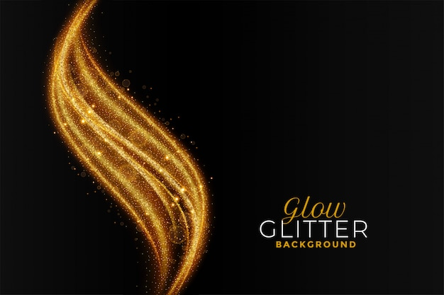 Golden sparkling glitter abstract wavy background Free Vector