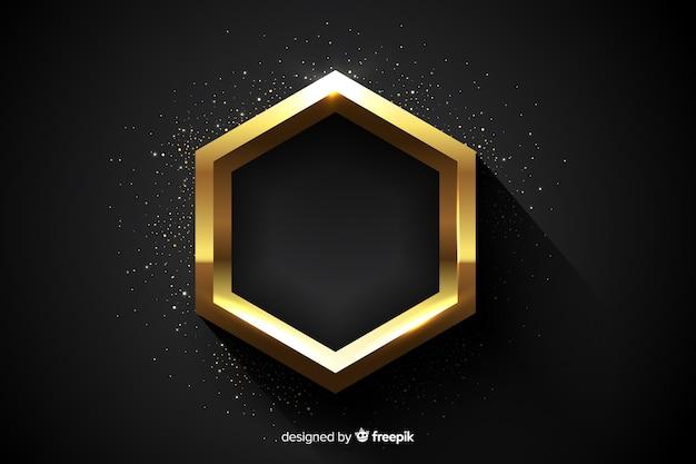 Golden sparkling hexagonal frame background Free Vector