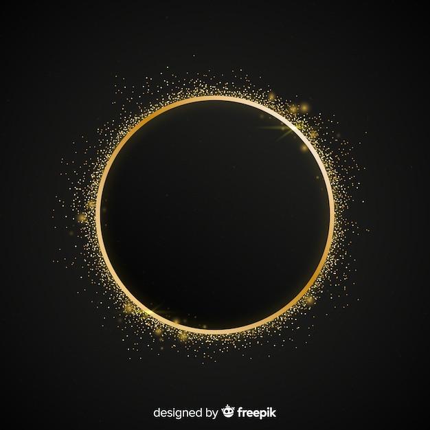 Golden sparkling round frame background Free Vector