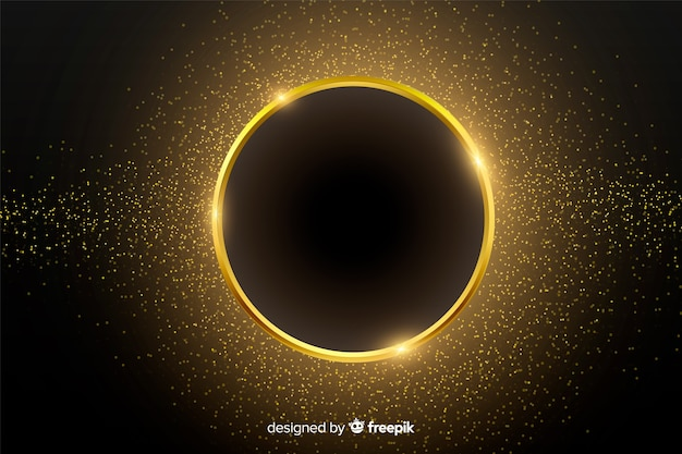 Golden sparkling round frame background Free Vector