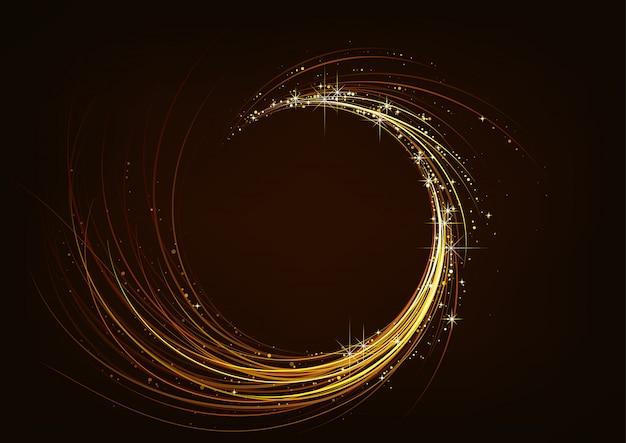 Golden sparkling spiral dark background Premium Vector