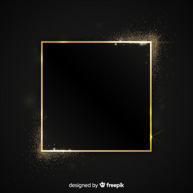 Golden sparkling square frame background Free Vector