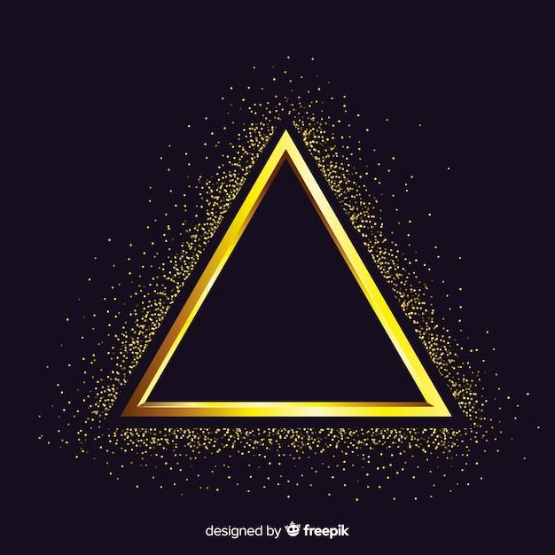 Golden sparkling triangle frame background Free Vector