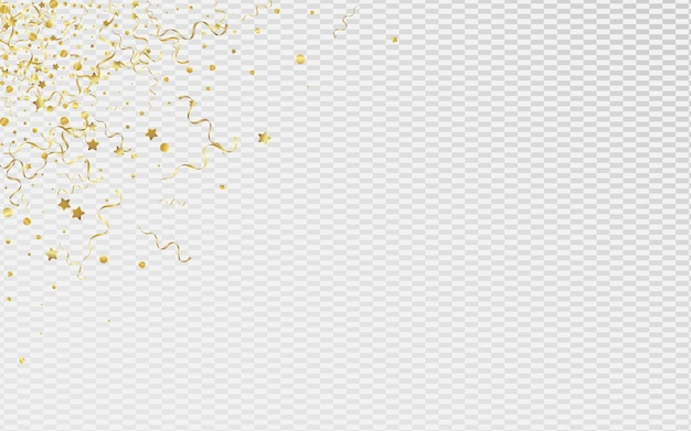 Золотая спираль празднует прозрачный фон. приглашение на праздник ленты. звездный летающий шаблон. желтый абстрактный плакат. Premium векторы