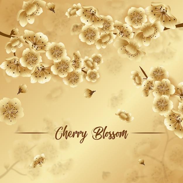 Golden spring festival background, luxury cherry blossom wallpaper, spring festival sakura Premium Vector