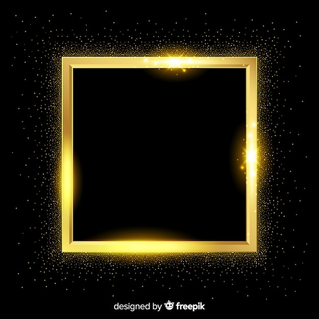 Golden square frame realistic background Free Vector