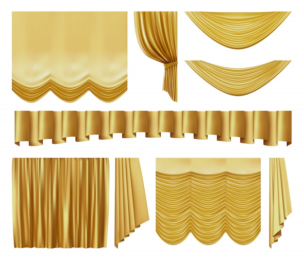 Golden stage curtains. realistic interior theater luxury gold velvet curtains, gold royal silk decorative elements  illustration set.  yellow movie, entertainment textile drapery Premium Vector