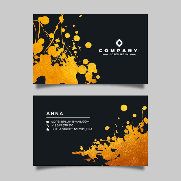 Golden stains business card template Free Vector