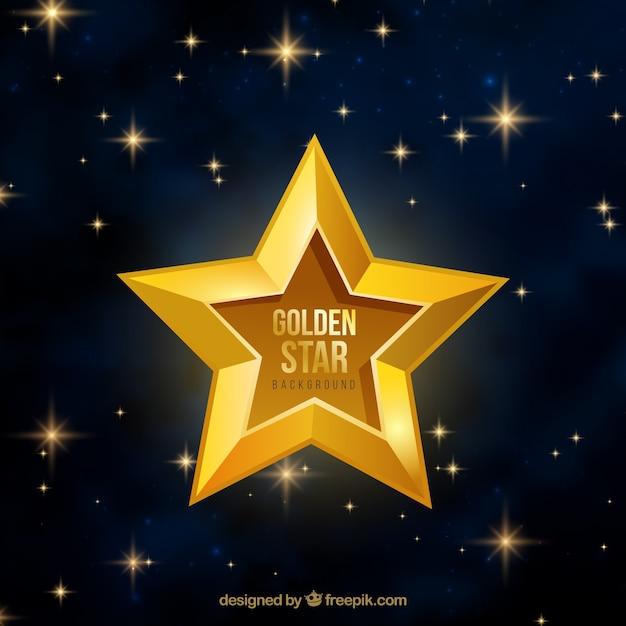Golden star background Free Vector