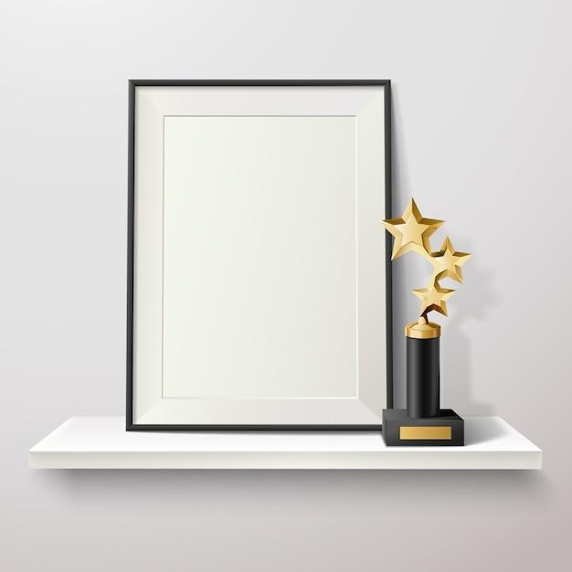 Golden star trophy and blank frame on white shelf on white