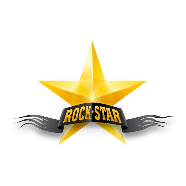 Golden star with rock star banner Premium Vector