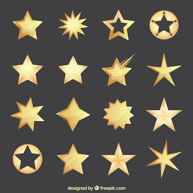 Golden stars collection Free Vector