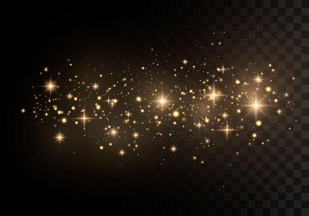 金色の星が特別な光で輝きます。輝く魔法の塵の粒子。 Premiumベクター