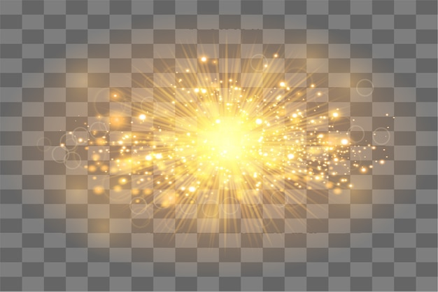 Golden sun ray with sparkles or gold particle glitter light. abstract gold background Premium Vector