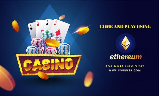 Golden text casino with 3d chip Premium Vector