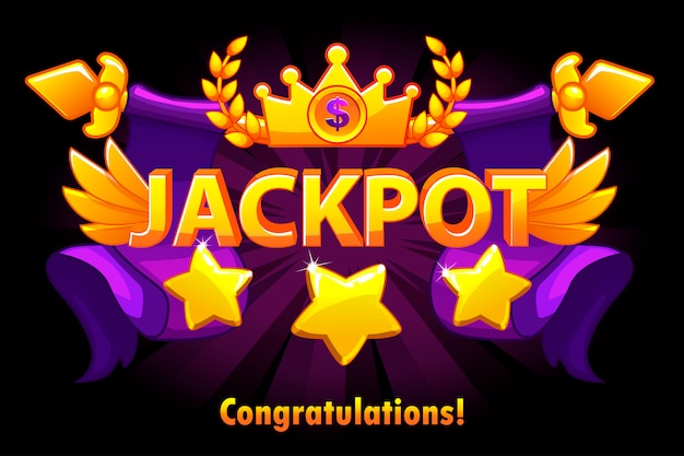 Golden text jackpot with stars and crown on violet background. casino jackpot winner awards with spears and wings. objects on separate layers. Premium Vector