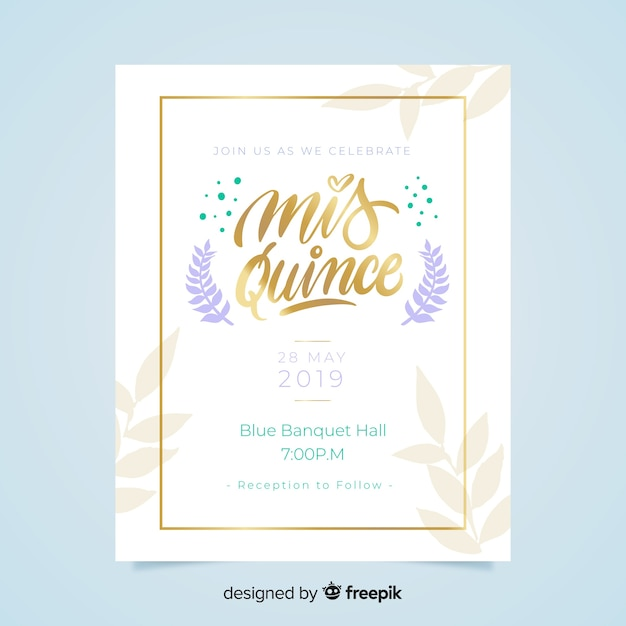 Golden text quinceanera card template Free Vector