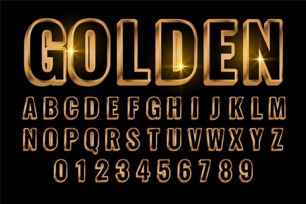 Golden text style effect in 3d style Free Vector