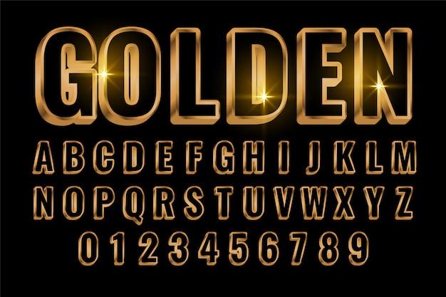3 dスタイルのゴールデンテキストスタイルの効果 無料ベクター
