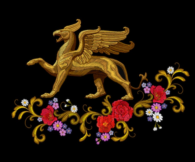 Golden textured embroidery griffin textile patch design. fashion decoration ornament fabric print. Premium Vector