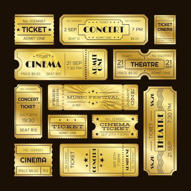 Golden tickets Premium Vector