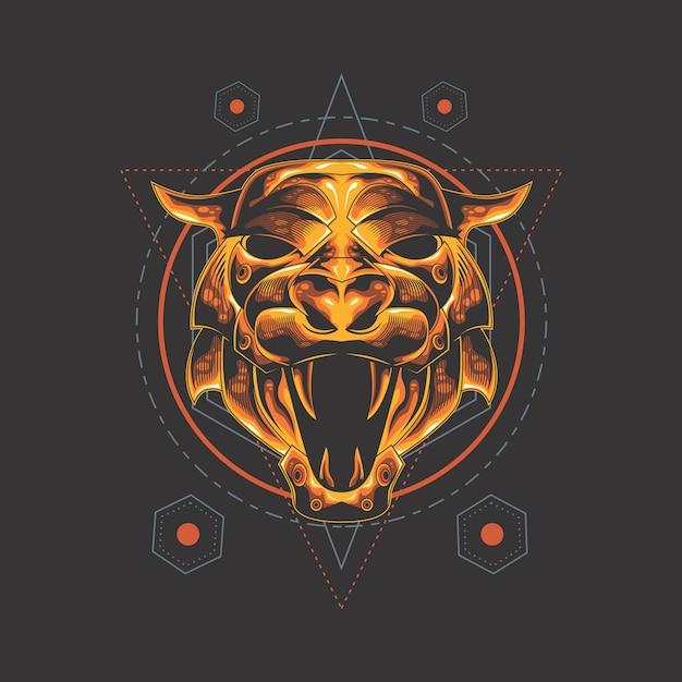Golden tiger sacred geometry Premium Vector