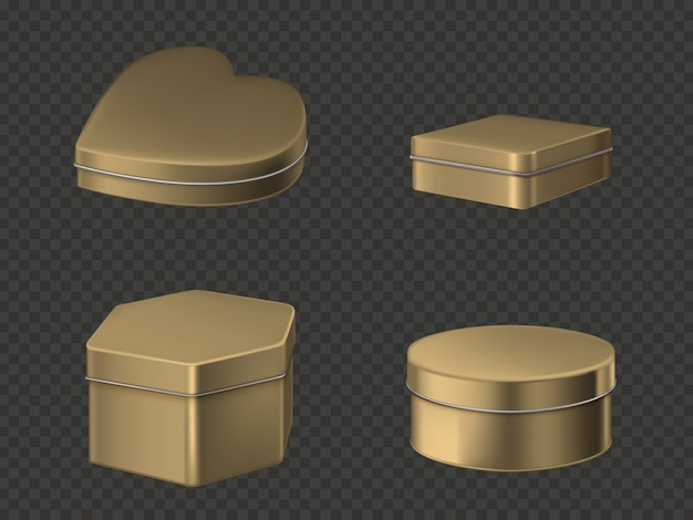 Golden tin boxes set Free Vector