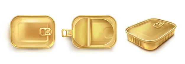 上面図と透視図でイワシ用の金色のブリキ缶。魚やマグロの長方形の金属容器のリアルなモックアップをベクトルします。白い背景で隔離の開閉蓋付きの空の保存ボックス 無料ベクター